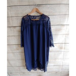 Plus Size Navy Blue Lace Flowy Mini Dress